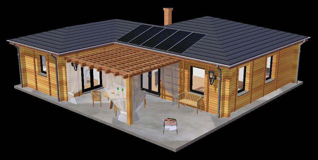 3d maison en bois - Plan De Maison En Bois Plein Pied Gratuit